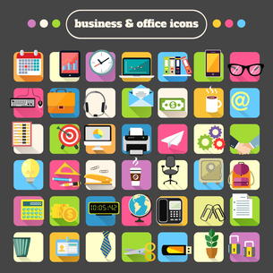 Business office stationery supplies flat icons set for website design or infographics isolated vectoのイラスト素材 [FYI03066914]