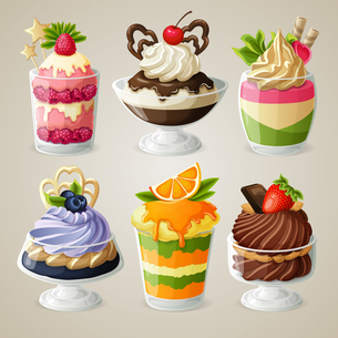 Decorative sweets ice cream and mousse in glass desserts with chocolate fruits and mint isolated vecのイラスト素材 [FYI03066915]
