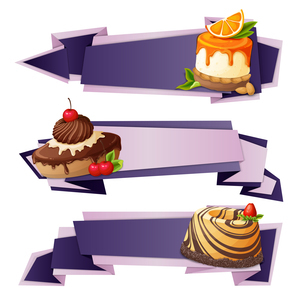 Decorative sweets food paper banners set with orange pudding chocolate cake dessert isolated vectorのイラスト素材 [FYI03066916]