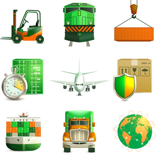 Logistic shipping realistic green color icons set of truck airplane train isolated vector illustratiのイラスト素材 [FYI03066917]