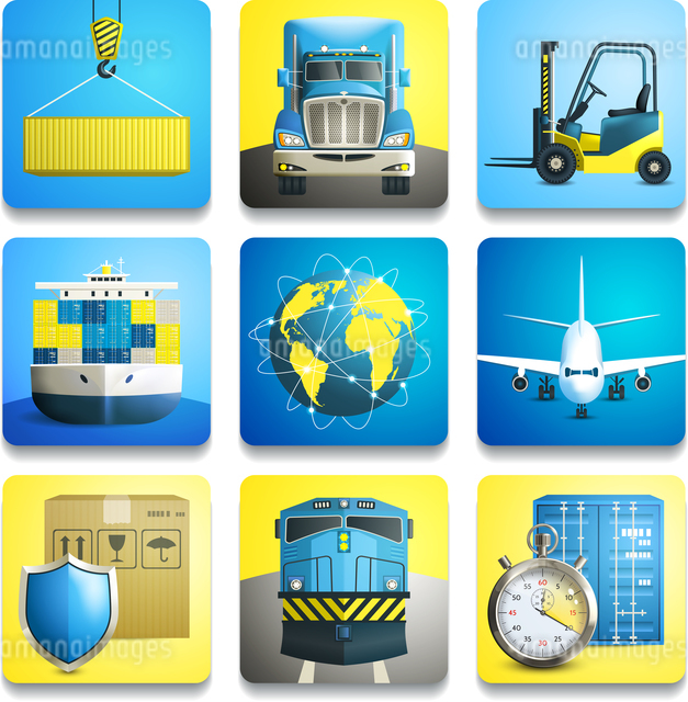 Logistic shipping realistic icons set of truck airplane train isolated vector illustrationのイラスト素材 [FYI03066918]