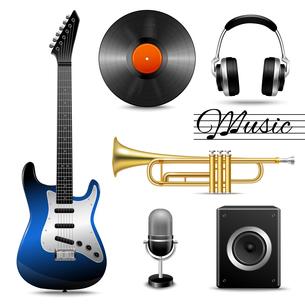 Realistic music entertainment performance equipment set of earphones microphone vinyl disk isolatedのイラスト素材 [FYI03066919]