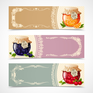 Natural organic orange blackberry and cherry jam in glass jar horizontal banners set isolated vectorのイラスト素材 [FYI03066920]