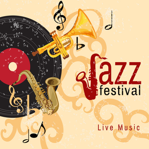 Jazz retro music festival concert live horn performance poster with black vinyl gramophone record abのイラスト素材 [FYI03066924]