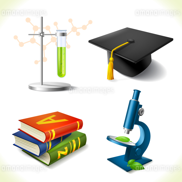 Realistic education icons set of laboratory flask graduation hat book microscope isolated vector illのイラスト素材 [FYI03066926]