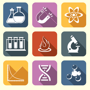 Physics science laboratory equipment scientific flat education icons set isolated vector illustratioのイラスト素材 [FYI03066927]