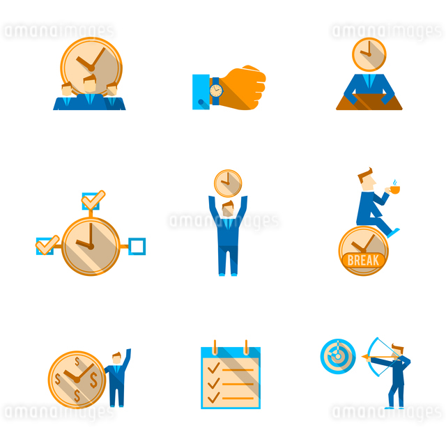 Effective goals achieving  time management to do list with watch clock  flat icons set isolated vectのイラスト素材 [FYI03066929]