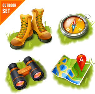 Camping summer outdoor activity recreation and adventure decorative icons set isolated vector illustのイラスト素材 [FYI03066933]