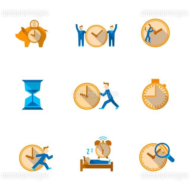 Efficient and cost effective team time management strategy flat icons set with shadow abstract isolaのイラスト素材 [FYI03066934]