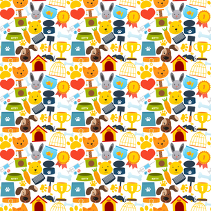 Pets seamless pattern with animal accessories and care elements vector illustrationのイラスト素材 [FYI03066935]