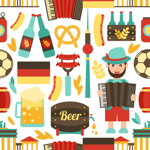 Germany travel tourist attractions seamless pattern vector illustrationのイラスト素材 [FYI03066937]
