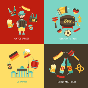 Germany travel Oktoberfest drink and food flat set isolated vector illustrationのイラスト素材 [FYI03066938]