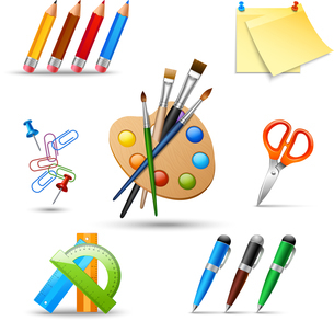 Art color palette and painting drawing tools set isolated vector illustrationのイラスト素材 [FYI03066949]