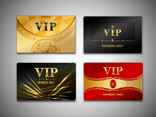 Small vip red black and golden premium platinum cards set isolated vector illustrationのイラスト素材 [FYI03066953]