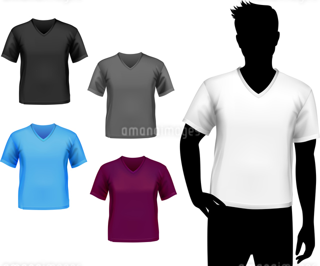Colored v-neck fashion t-shirts male set with man silhouette isolated vector illustrationのイラスト素材 [FYI03066956]