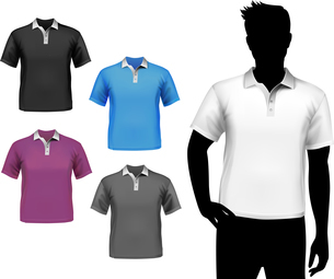 Colored polo fashion t-shirts male set with man body silhouette isolated vector illustration.のイラスト素材 [FYI03066957]