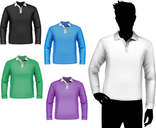 Colored polo long sleeve t-shirts male set with man body silhouette isolated vector illustrationのイラスト素材 [FYI03066958]