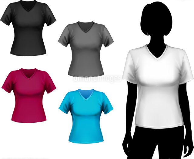 Colored v-neck t-shirts female set with woman body silhouette isolated vector illustrationのイラスト素材 [FYI03066959]