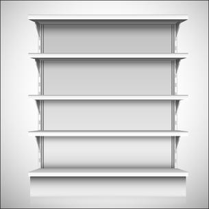 White empty supermarket retail store shelves isolated on white background vector illustrationのイラスト素材 [FYI03066961]
