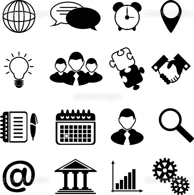 Business icons black silhouettes set of stationery and organization elements isolated vector illustrのイラスト素材 [FYI03066963]