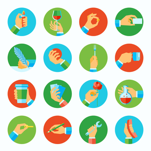 Human hands holding different objects flat icons set isolated vector illustrationのイラスト素材 [FYI03066976]