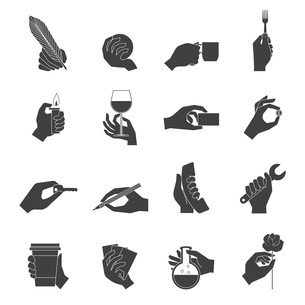 Human hands holding objects working tools black icons set isolated vector illustrationのイラスト素材 [FYI03066978]