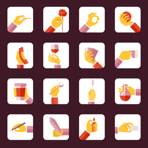 Human hands holding objects repair eating tools flat icons set isolated vector illustrationのイラスト素材 [FYI03066980]