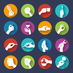 Human hands holding objects flat icons round buttons set isolated vector illustrationのイラスト素材 [FYI03066981]