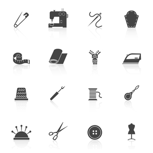 Sewing equipment and dressmaking accessories icons set black isolated vector illustrationのイラスト素材 [FYI03066982]