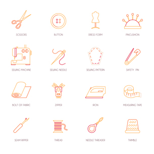 Sewing equipment and dressmaking accessories icons set flat line isolated vector illustrationのイラスト素材 [FYI03066983]
