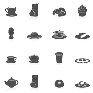 Breakfast tasty food and drink icon black set with coffee pancakes and fried bread isolated vector iのイラスト素材 [FYI03066985]