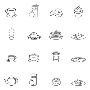Breakfast food and drink icon outline set with cereal toast butter isolated vector illustrationのイラスト素材 [FYI03066987]