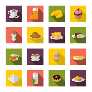Breakfast food and drink icon flat set with bacon and eggs pancakes isolated vector illustrationのイラスト素材 [FYI03066989]