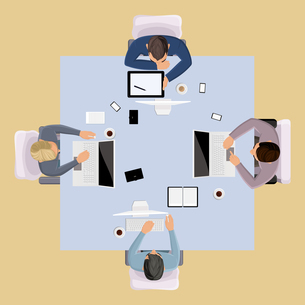 Business team meeting brainstorming concept top view group people on table vector illustrationのイラスト素材 [FYI03066990]