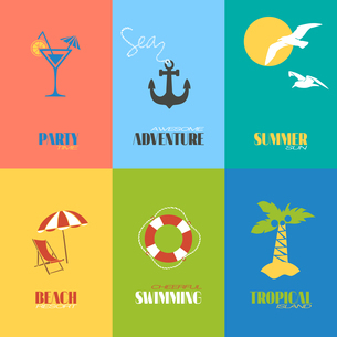 Summer time awesome adventure tropical island posters set isolated vector illustrationのイラスト素材 [FYI03066995]