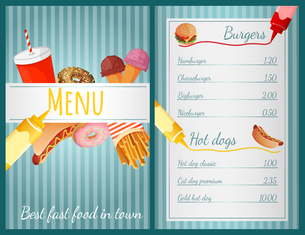 Fast food restaurant menu with burgers and hotdogs vector illustrationのイラスト素材 [FYI03067000]