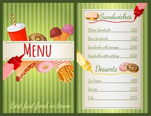 Fast food restaurant menu with sandwiches and desserts vector illustrationのイラスト素材 [FYI03067001]