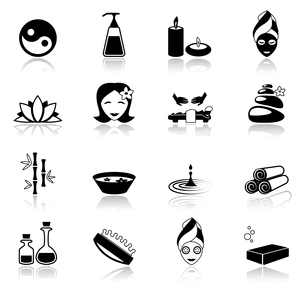 Spa healthcare salon herbal therapy relax beauty care black icons set isolated vector illustrationのイラスト素材 [FYI03067002]
