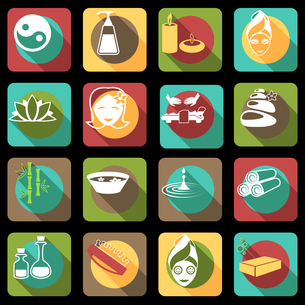 Spa healthcare salon herbal therapy relax beauty care products flat icons set isolated vector illustのイラスト素材 [FYI03067003]