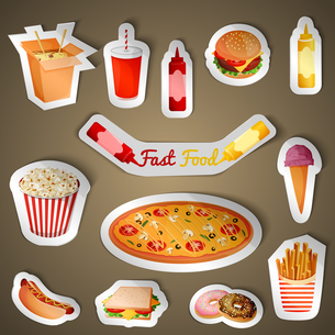 Fast junk food stickers set of popcorn pizza icecream isolated vector illustrationのイラスト素材 [FYI03067007]