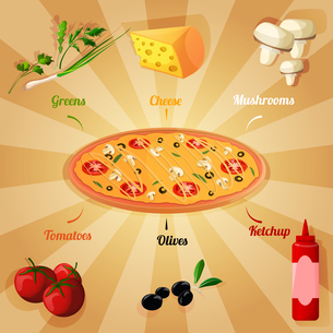 Round hot delicious tasty meat cheese olive tomato mushroom pizza poster vector illustrationのイラスト素材 [FYI03067008]