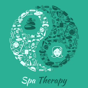 Spa healthcare salon therapy concept with zen symbol and wellness icons vector illustrationのイラスト素材 [FYI03067009]