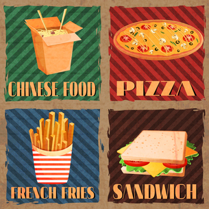 Fast junk food cards set of chinese food french fries pizza sandwich isolated vector illustrationのイラスト素材 [FYI03067010]