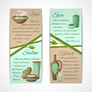 Spa salon relax treatment vertical banners set isolated vector illustrationのイラスト素材 [FYI03067015]