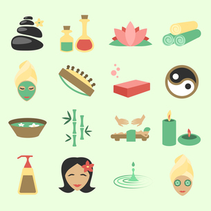 Spa salon wellness beauty care products icons set isolated vector illustrationのイラスト素材 [FYI03067016]