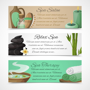 Spa salon relax therapy alternative medicine horizontal banners set isolated vector illustrationのイラスト素材 [FYI03067019]