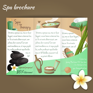 Spa salon discount brochure with beauty and health products vector illustrationのイラスト素材 [FYI03067020]
