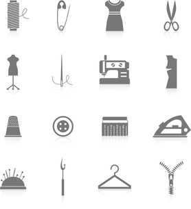 Sewing equipment and tailor accessories icons set with needle thread iron zipper black isolated vectのイラスト素材 [FYI03067021]
