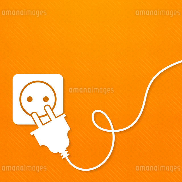 Electricity icon flat with plug and socket on orange background vector illustrationのイラスト素材 [FYI03067024]