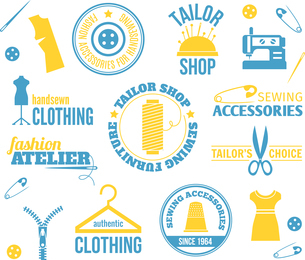 Sewing equipment fashion accessories colored labels set isolated vector illustrationのイラスト素材 [FYI03067026]